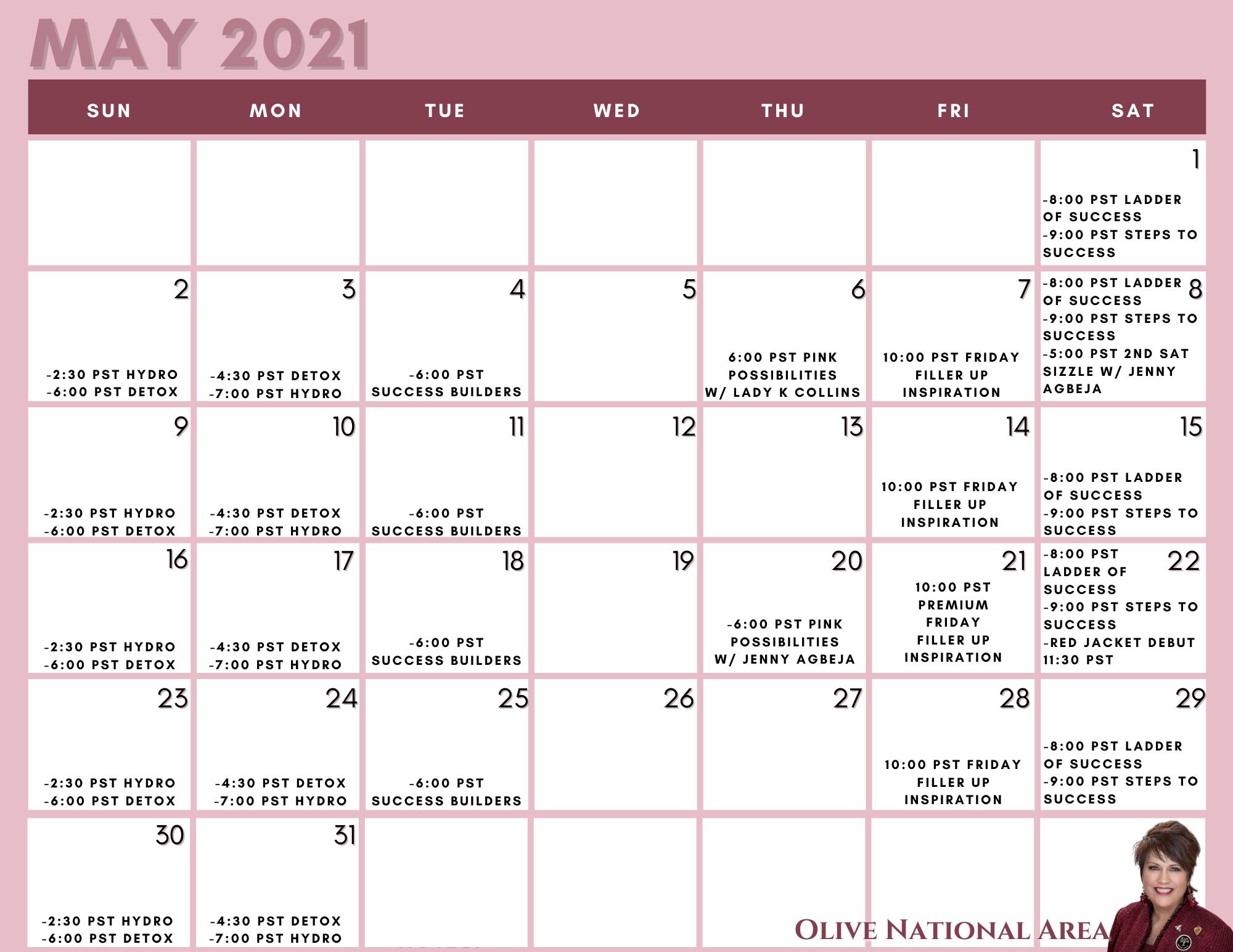 May detailed calendar