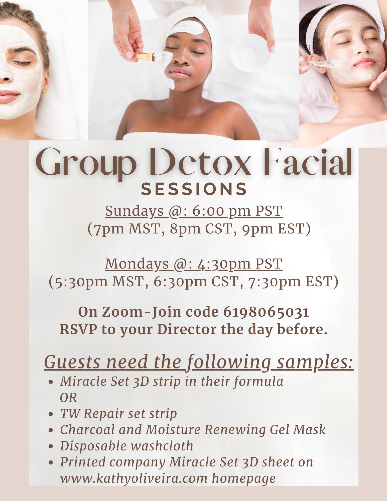Group Detox facial flyer