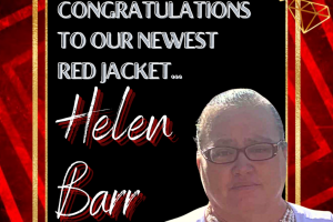Helen Barr red jacket